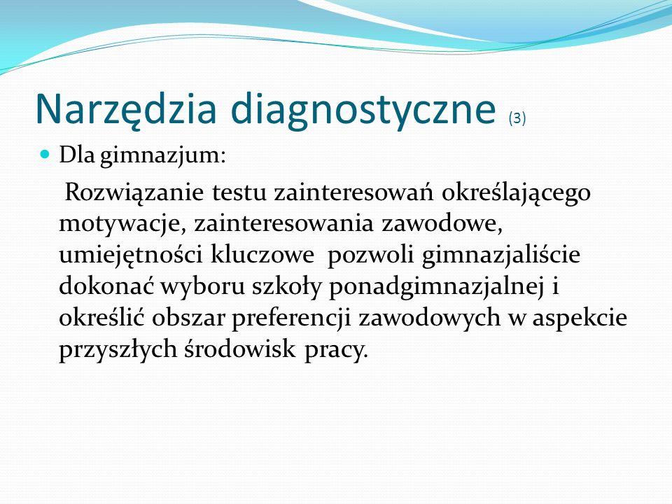 Narzędzia diagnostyczne (3) Dla gimnazjum: Rozwiązanie testu zainteresowań określającego motywacje, zainteresowania zawodowe, umiejętności kluczowe po