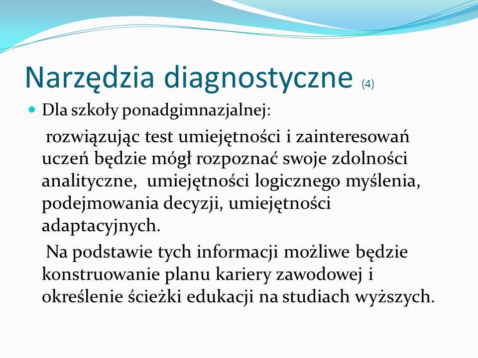 Narzędzia diagnostyczne (4) Dla szkoły ponadgimnazjalnej: rozwiązując test umiejętności i zainteresowań uczeń będzie mógł rozpoznać swoje zdolności an