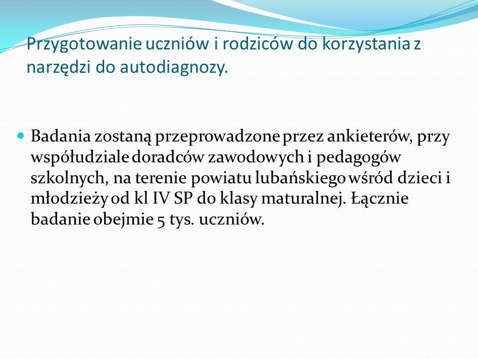 Badania zostaną przeprowadzone przez ankieterów, przy współudziale doradców zawodowych i pedagogów szkolnych, na terenie powiatu lubańskiego wśród dzi