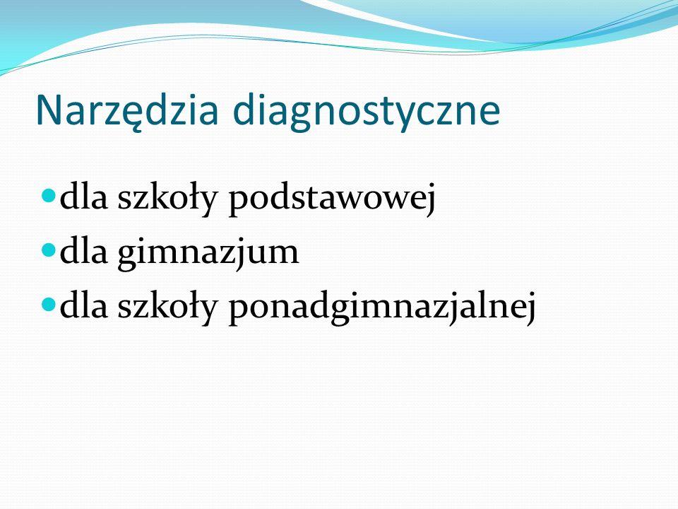 Narzędzia diagnostyczne dla szkoły podstawowej dla gimnazjum dla szkoły ponadgimnazjalnej
