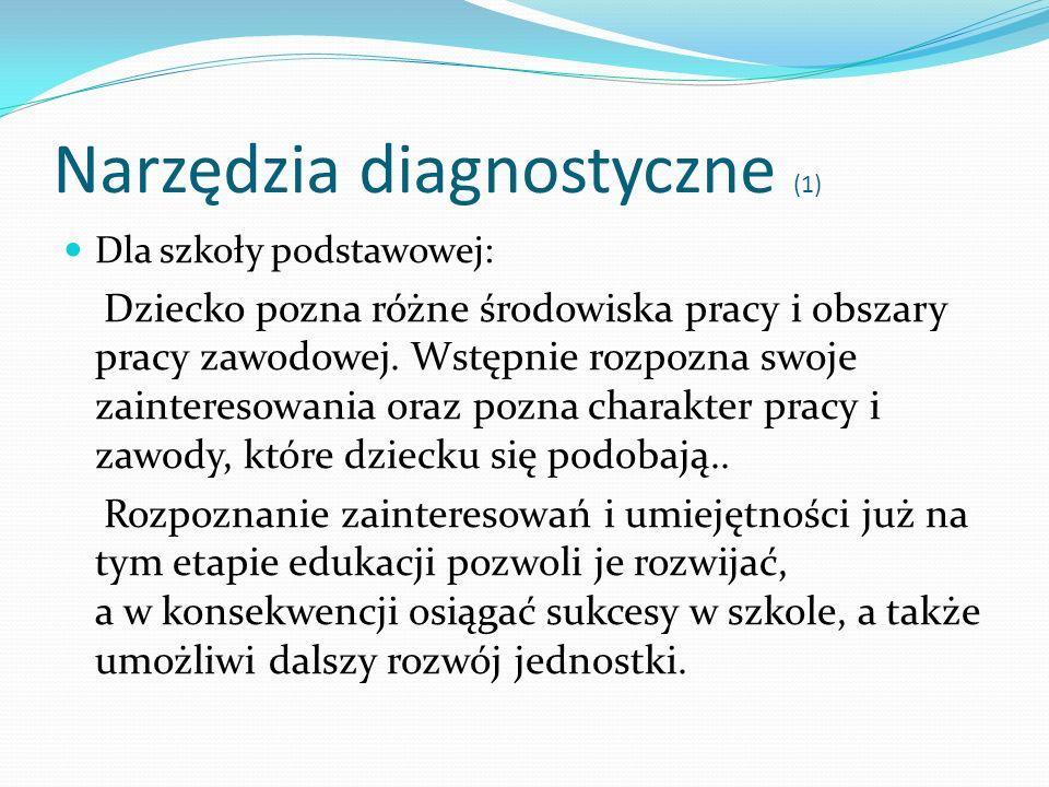 Narzędzia diagnostyczne (1) Dla szkoły podstawowej: Dziecko pozna różne środowiska pracy i obszary pracy zawodowej. Wstępnie rozpozna swoje zaintereso
