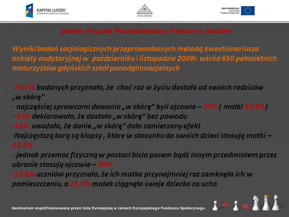 Gminny Program Przeciwdziałania Przemocy w Rodzinie Wyniki badań socjologicznych przeprowadzonych metodą kwestionariusza ankiety audytoryjnej w paździ