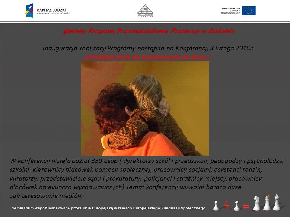 Gminny Program Przeciwdziałania Przemocy w Rodzinie Inauguracja realizacji Programy nastąpiła na Konferencji 8 lutego 2010r. Urodziłaś mnie do kochani