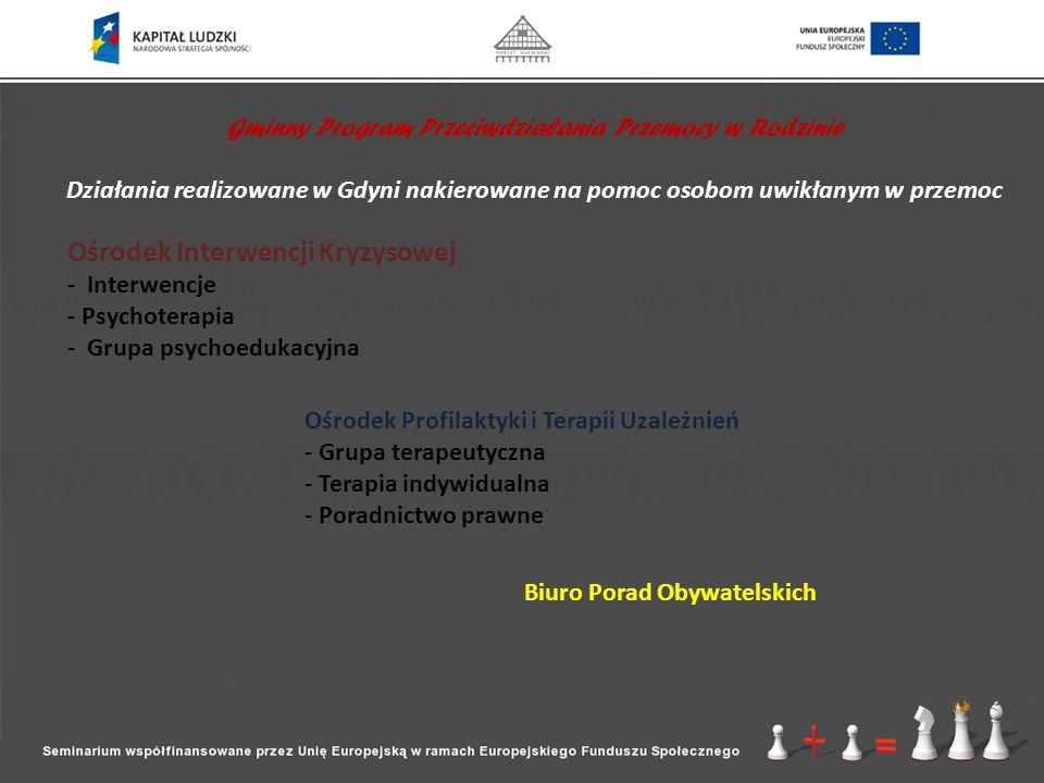 Gminny Program Przeciwdziałania Przemocy w Rodzinie Działania realizowane w Gdyni nakierowane na pomoc osobom uwikłanym w przemoc Ośrodek Interwencji