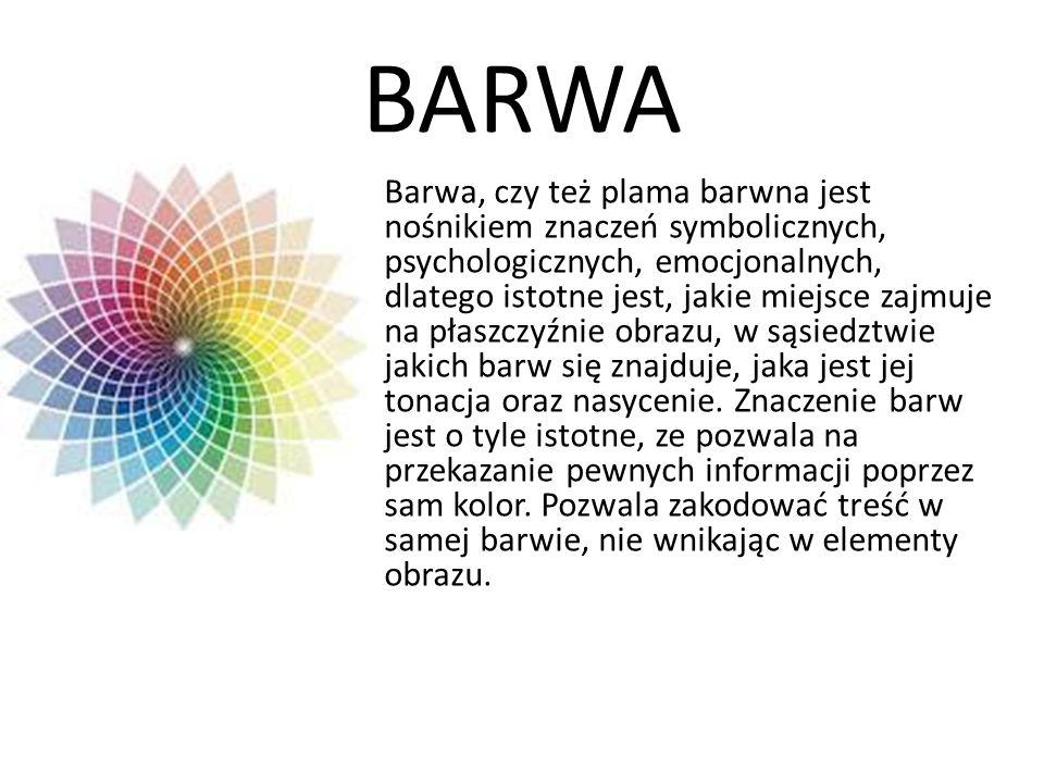 BARWA Barwa, czy też plama barwna jest nośnikiem znaczeń symbolicznych, psychologicznych, emocjonalnych, dlatego istotne jest, jakie miejsce zajmuje n