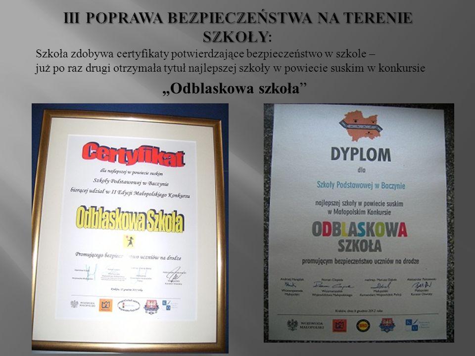 Szkoła zdobywa certyfikaty potwierdzające bezpieczeństwo w szkole – już po raz drugi otrzymała tytuł najlepszej szkoły w powiecie suskim w konkursie Odblaskowa szkoła