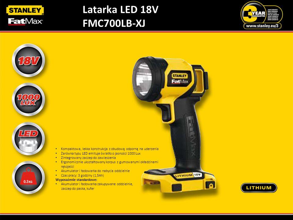 Latarka LED 18V FMC700LB-XJ Kompaktowa, lekka konstrukcja z obudową odporną na uderzenia Żarówka typu LED emituje światło o jasności 1000 Lux Zintegro