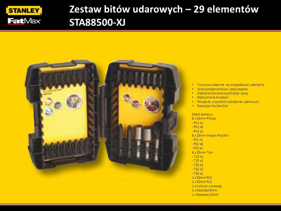 Zestaw bitów udarowych – 29 elementów STA88500-XJ Tworzywo odporne na przypadkowe uderzenia Wytrzymałe końcówki sześciokątne Zoptymalizowana konstrukc