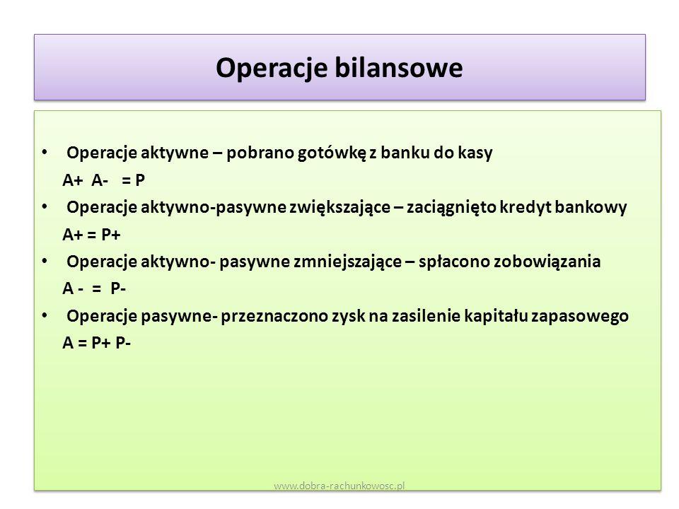 Operacje bilansowe Operacje aktywne – pobrano gotówkę z banku do kasy A+ A- = P Operacje aktywno-pasywne zwiększające – zaciągnięto kredyt bankowy A+