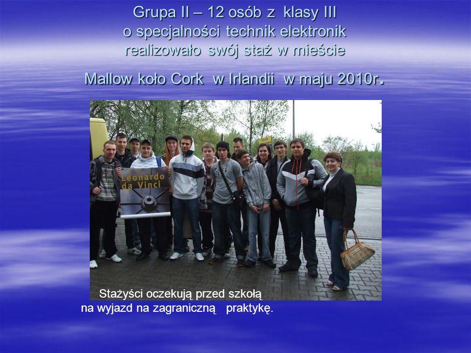 Grupa II – 12 osób z klasy III o specjalności technik elektronik realizowało swój staż w mieście Mallow koło Cork w Irlandii w maju 2010r.