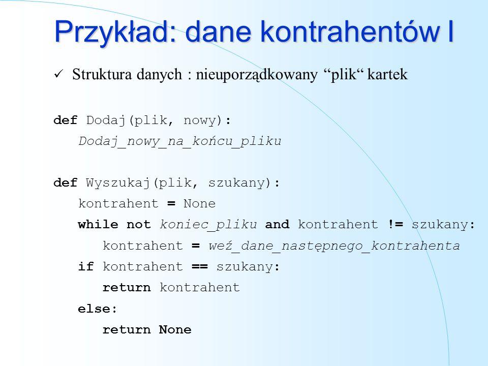 Przykład: dane kontrahentów I Struktura danych : nieuporządkowany plik kartek def Dodaj(plik, nowy): Dodaj_nowy_na_końcu_pliku def Wyszukaj(plik, szuk