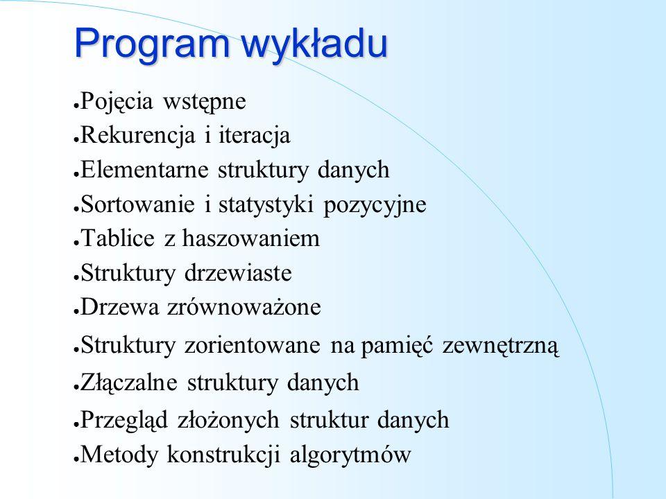 Program wykładu Pojęcia wstępne Rekurencja i iteracja Elementarne struktury danych Sortowanie i statystyki pozycyjne Tablice z haszowaniem Struktury d