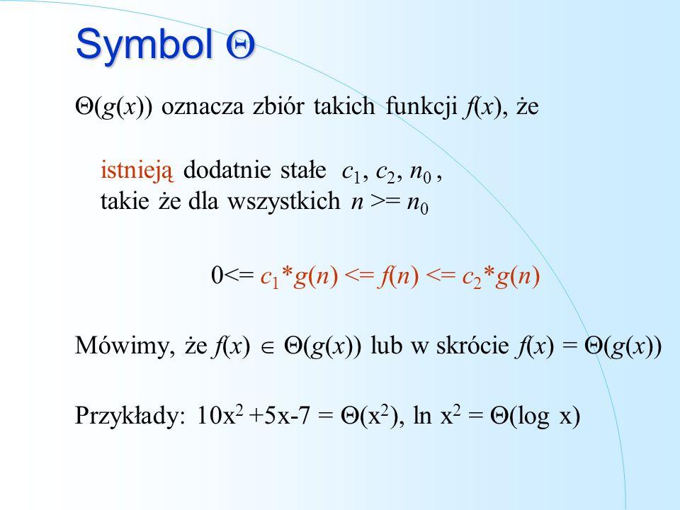 Symbol Symbol (g(x)) oznacza zbiór takich funkcji f(x), że istnieją dodatnie stałe c 1, c 2, n 0, takie że dla wszystkich n >= n 0 0<= c 1 *g(n) <= f(