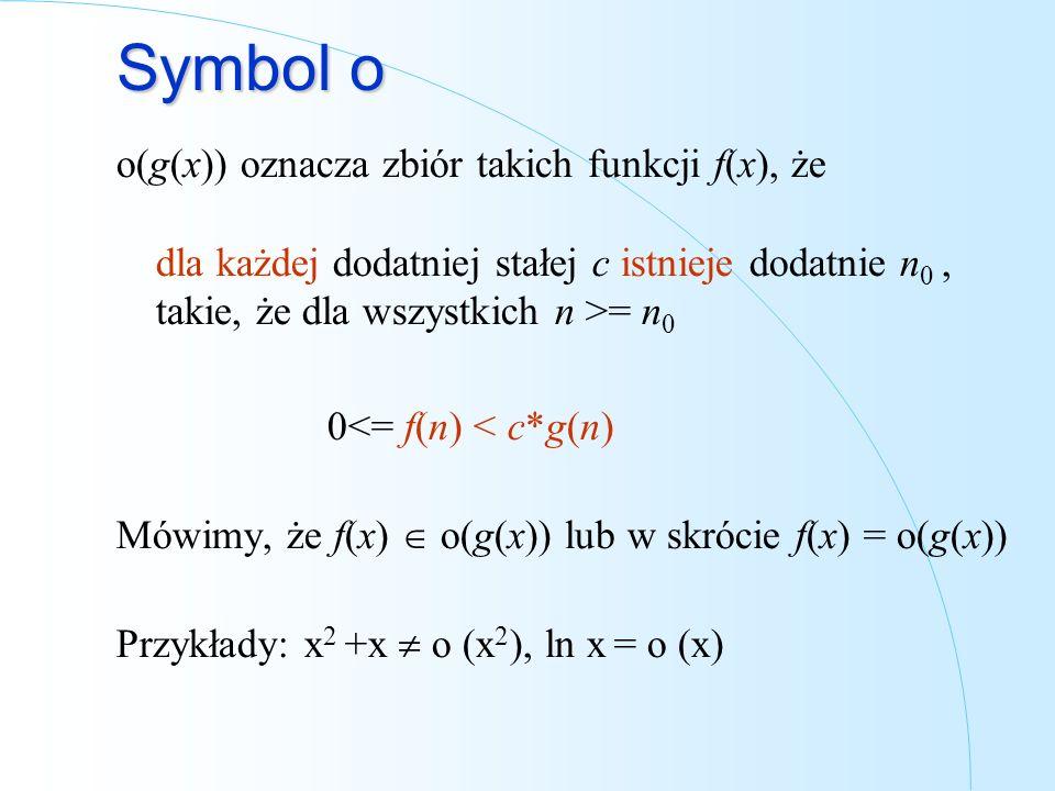 Symbol o o(g(x)) oznacza zbiór takich funkcji f(x), że dla każdej dodatniej stałej c istnieje dodatnie n 0, takie, że dla wszystkich n >= n 0 0<= f(n)