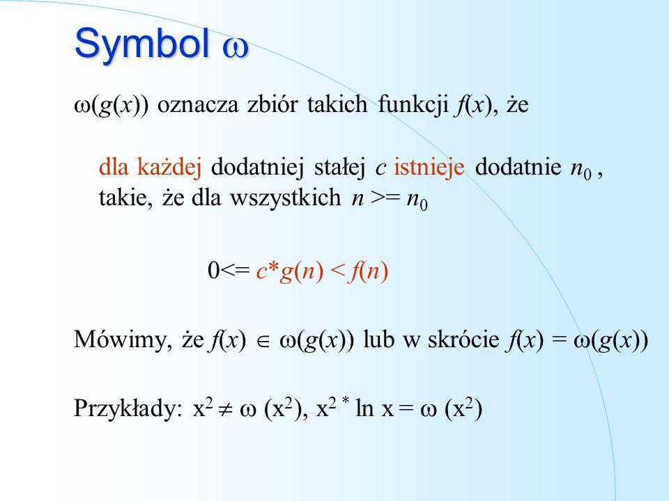 Symbol Symbol (g(x)) oznacza zbiór takich funkcji f(x), że dla każdej dodatniej stałej c istnieje dodatnie n 0, takie, że dla wszystkich n >= n 0 0<=