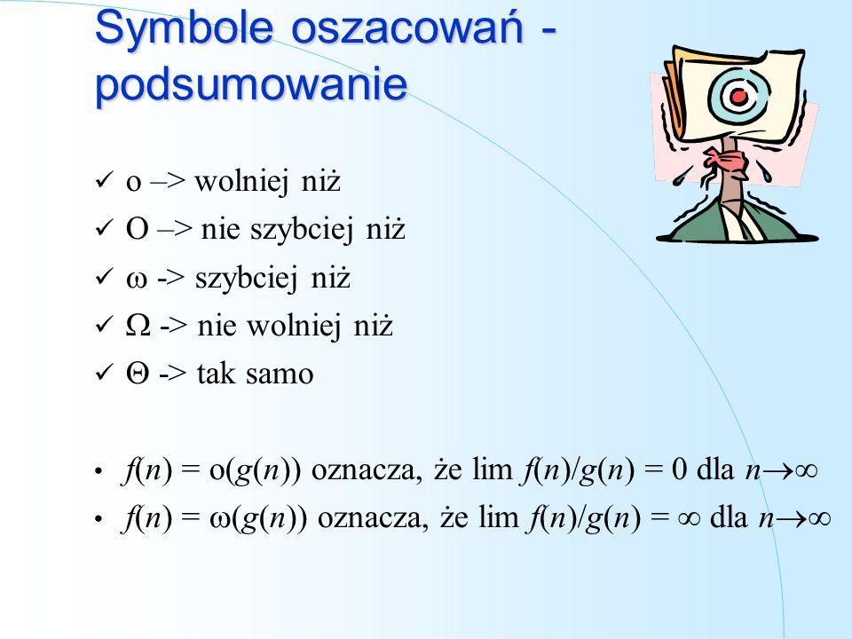 Symbole oszacowań - podsumowanie o –> wolniej niż O –> nie szybciej niż -> szybciej niż -> nie wolniej niż -> tak samo f(n) = o(g(n)) oznacza, że lim