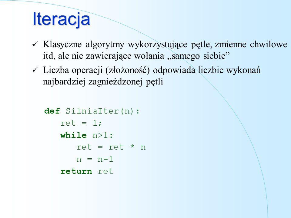 Iteracja Klasyczne algorytmy wykorzystujące pętle, zmienne chwilowe itd, ale nie zawierające wołania samego siebie Liczba operacji (złożoność) odpowia