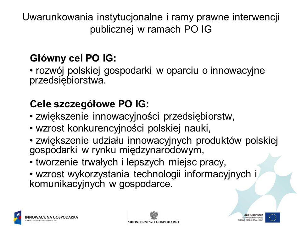 Uwarunkowania instytucjonalne i ramy prawne interwencji publicznej w ramach PO IG Główny cel PO IG: rozwój polskiej gospodarki w oparciu o innowacyjne przedsiębiorstwa.
