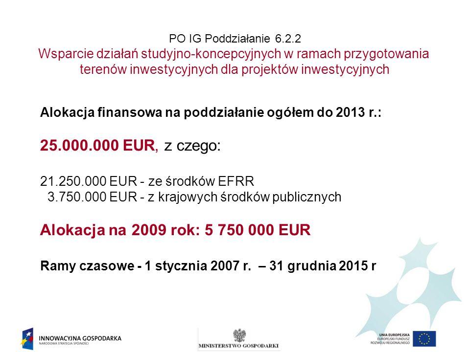 PO IG Poddziałanie 6.2.2 Wsparcie działań studyjno-koncepcyjnych w ramach przygotowania terenów inwestycyjnych dla projektów inwestycyjnych Alokacja finansowa na poddziałanie ogółem do 2013 r.: 25.000.000 EUR, z czego: 21.250.000 EUR - ze środków EFRR 3.750.000 EUR - z krajowych środków publicznych Alokacja na 2009 rok: 5 750 000 EUR Ramy czasowe - 1 stycznia 2007 r.