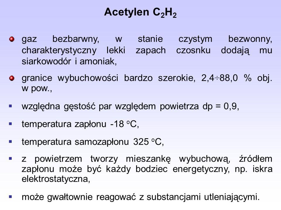 Acetylen C 2 H 2 gaz bezbarwny, w stanie czystym bezwonny, charakterystyczny lekki zapach czosnku dodają mu siarkowodór i amoniak, granice wybuchowości bardzo szerokie, 2,4÷88,0 % obj.