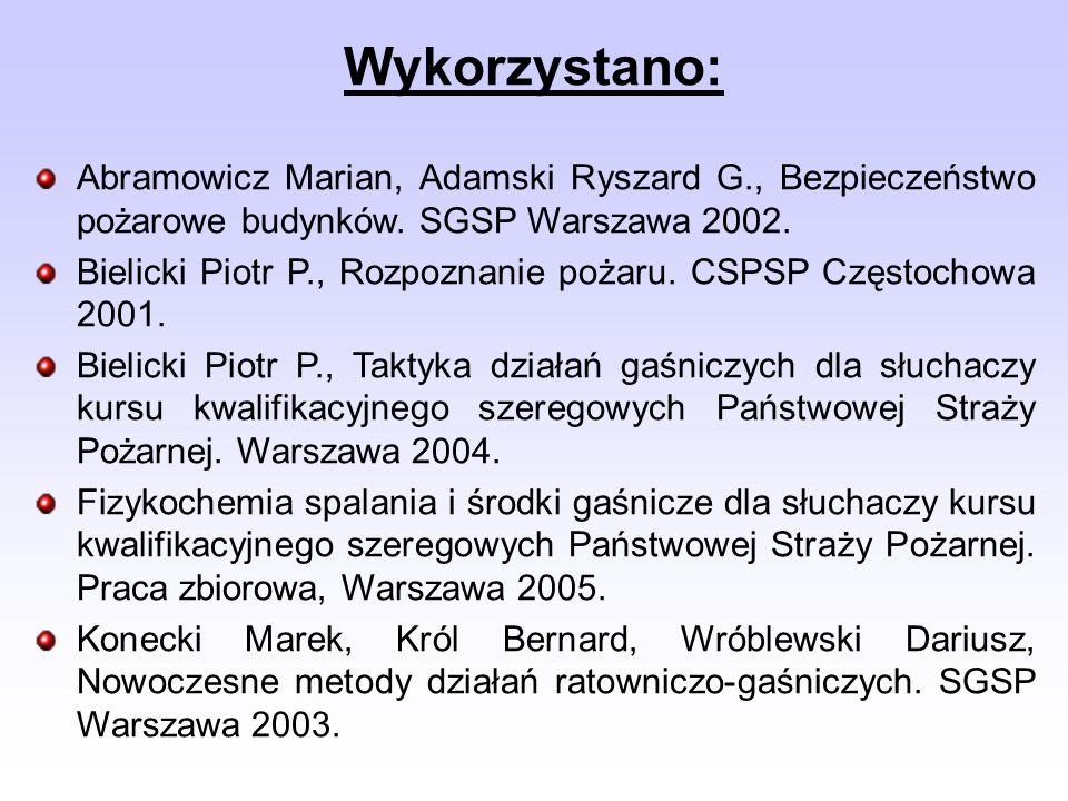 Wykorzystano: Abramowicz Marian, Adamski Ryszard G., Bezpieczeństwo pożarowe budynków. SGSP Warszawa 2002. Bielicki Piotr P., Rozpoznanie pożaru. CSPS
