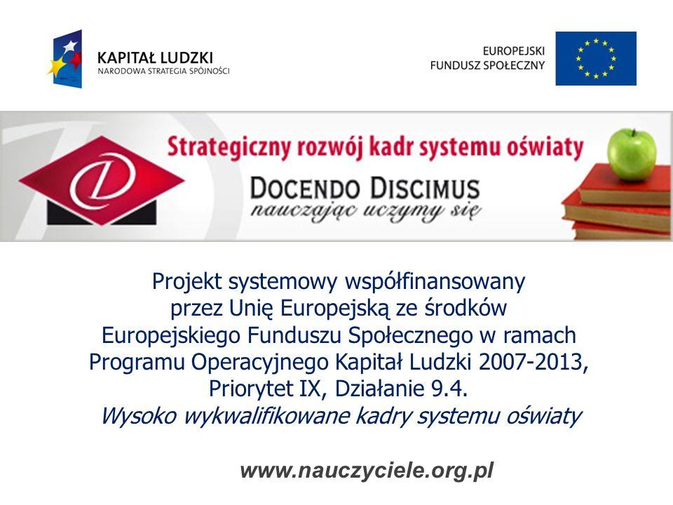 Projekt systemowy współfinansowany przez Unię Europejską ze środków Europejskiego Funduszu Społecznego w ramach Programu Operacyjnego Kapitał Ludzki 2