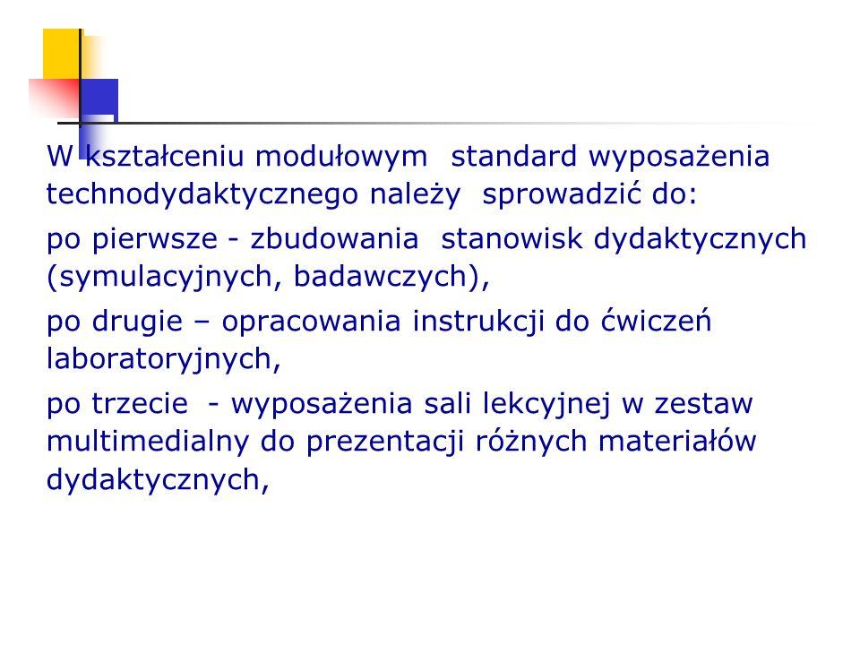 W kształceniu modułowym standard wyposażenia technodydaktycznego należy sprowadzić do: po pierwsze - zbudowania stanowisk dydaktycznych (symulacyjnych