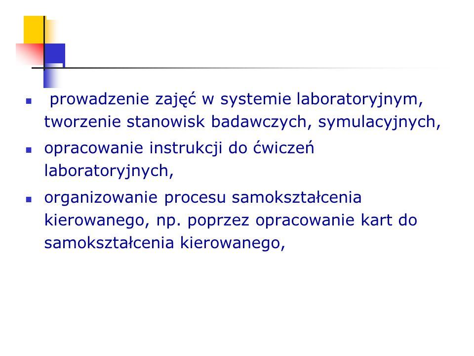 prowadzenie zajęć w systemie laboratoryjnym, tworzenie stanowisk badawczych, symulacyjnych, opracowanie instrukcji do ćwiczeń laboratoryjnych, organiz