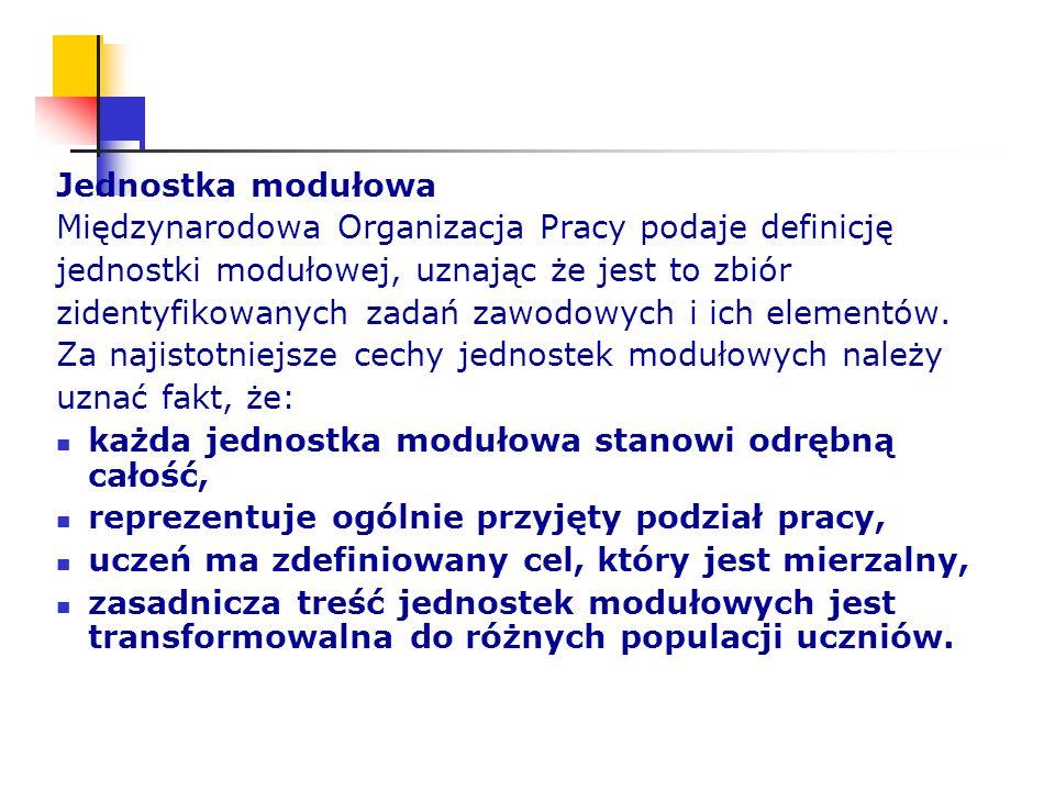 Jednostka modułowa Międzynarodowa Organizacja Pracy podaje definicję jednostki modułowej, uznając że jest to zbiór zidentyfikowanych zadań zawodowych