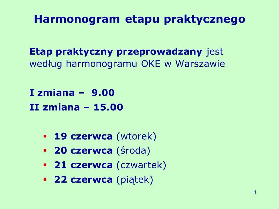 Harmonogram etapu praktycznego egzaminu przeprowadzanego na wyposażonych stanowiskach 240 minut 5 nazwa zawodu 19.06 – 9.00 19.06 – 15.00 20.06 – 9.00 20.06 – 15.00 21.06 – 9.00 21.06 – 15.00 22.06 – 9.00 22.06 – 15.00 technik prac biurowych asystent operatora dźwięku fototechnik ratownik medyczny technik analityk technik cyfrowych procesów graficznych technik ekonomista technik geodeta