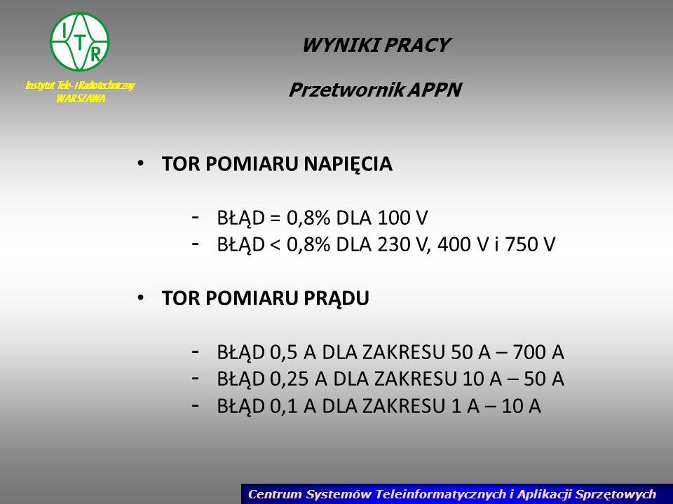 Instytut Tele- i Radiotechniczny WARSZAWA Centrum Systemów Teleinformatycznych i Aplikacji Sprzętowych WYNIKI PRACY Przetwornik APPN TOR POMIARU NAPIĘ