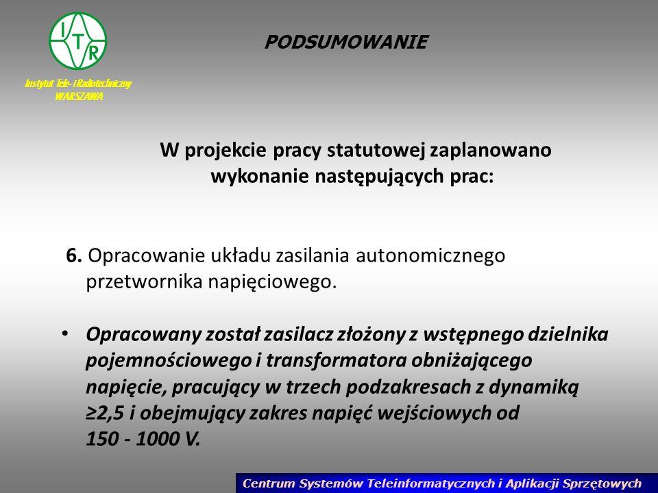 Instytut Tele- i Radiotechniczny WARSZAWA Centrum Systemów Teleinformatycznych i Aplikacji Sprzętowych PODSUMOWANIE W projekcie pracy statutowej zapla