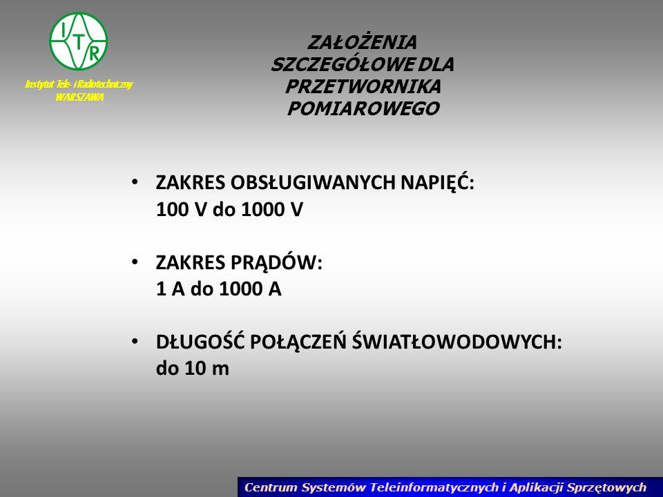 Instytut Tele- i Radiotechniczny WARSZAWA Centrum Systemów Teleinformatycznych i Aplikacji Sprzętowych
