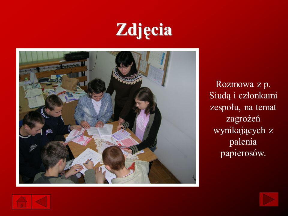 Zdjęcia Rozmowa z p. Siudą i członkami zespołu, na temat zagrożeń wynikających z palenia papierosów.