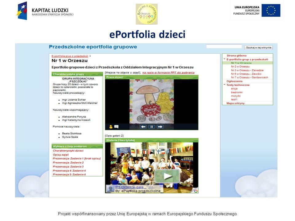 Projekt współfinansowany przez Unię Europejską w ramach Europejskiego Funduszu Społecznego ePortfolia dzieci