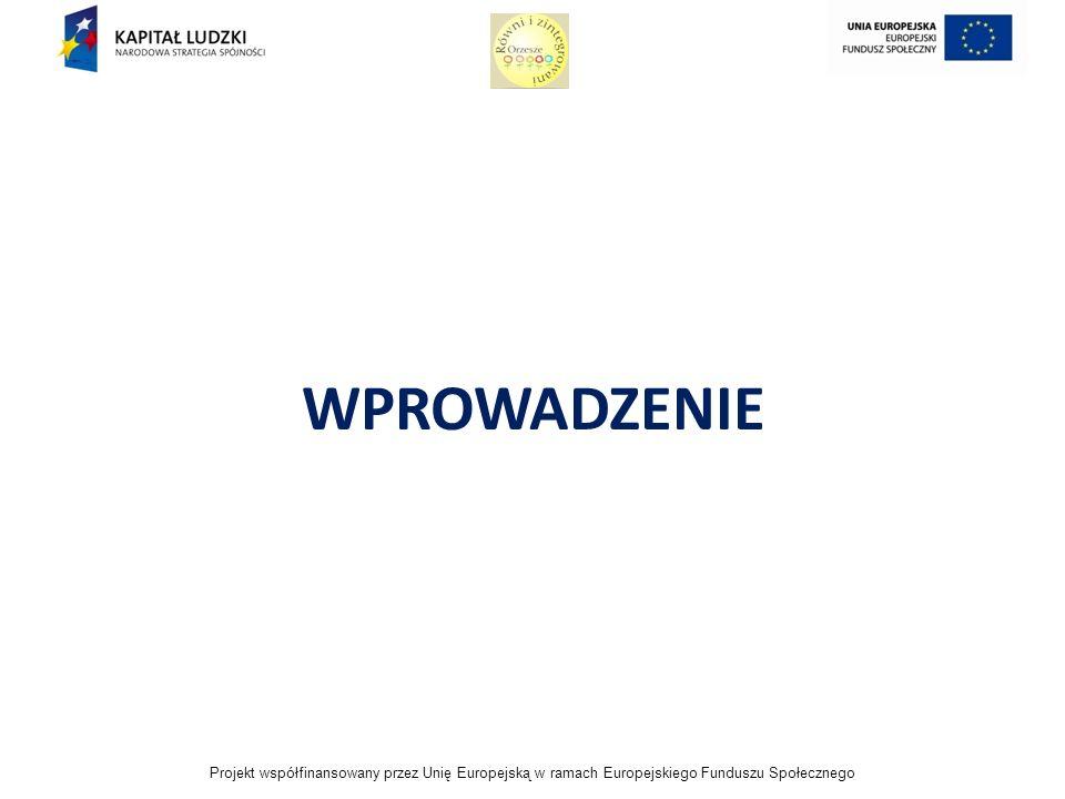 Projekt współfinansowany przez Unię Europejską w ramach Europejskiego Funduszu Społecznego WPROWADZENIE