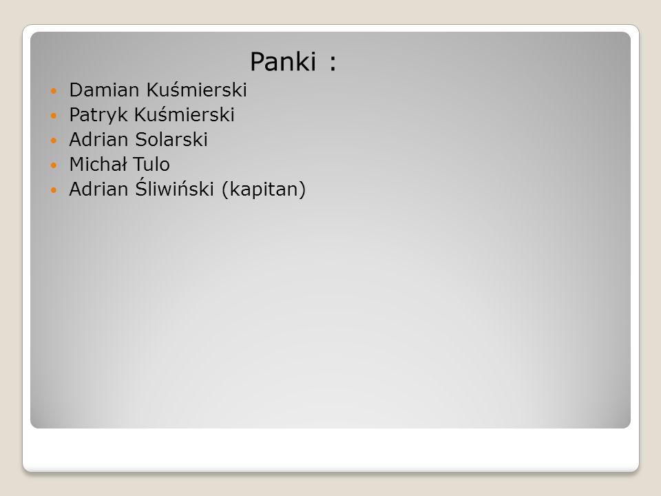 Panki : Damian Kuśmierski Patryk Kuśmierski Adrian Solarski Michał Tulo Adrian Śliwiński (kapitan)