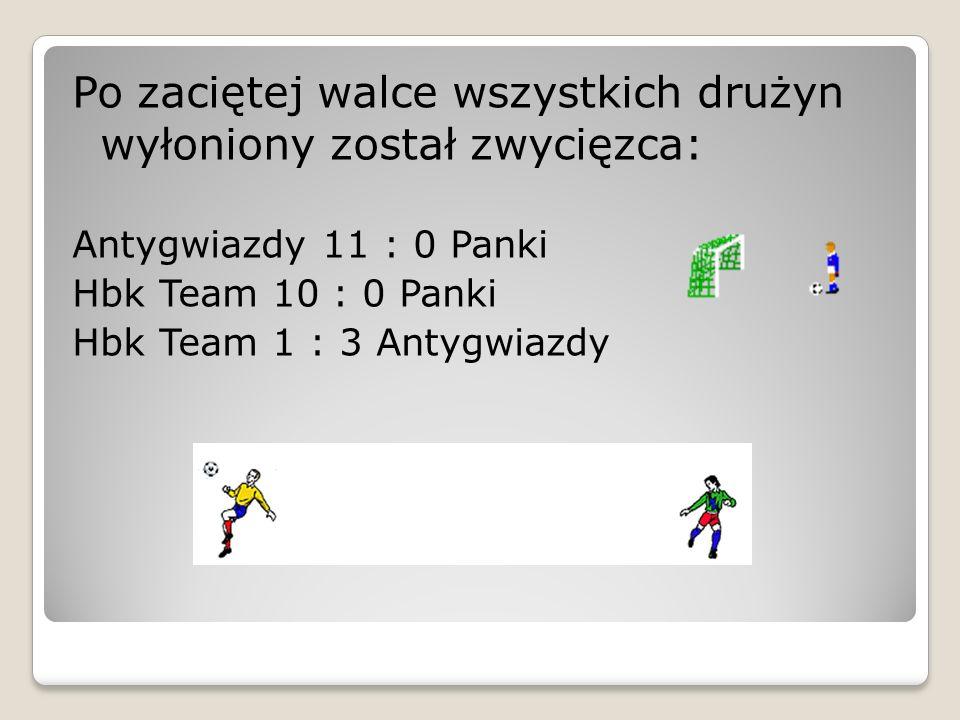 Po zaciętej walce wszystkich drużyn wyłoniony został zwycięzca: Antygwiazdy 11 : 0 Panki Hbk Team 10 : 0 Panki Hbk Team 1 : 3 Antygwiazdy