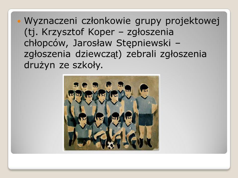 Wyznaczeni członkowie grupy projektowej (tj. Krzysztof Koper – zgłoszenia chłopców, Jarosław Stępniewski – zgłoszenia dziewcz ąt ) zebrali zgłoszenia