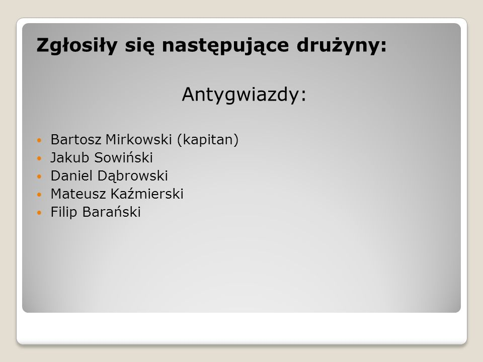 Zgłosiły się następujące drużyny: Antygwiazdy: Bartosz Mirkowski (kapitan) Jakub Sowiński Daniel Dąbrowski Mateusz Kaźmierski Filip Barański