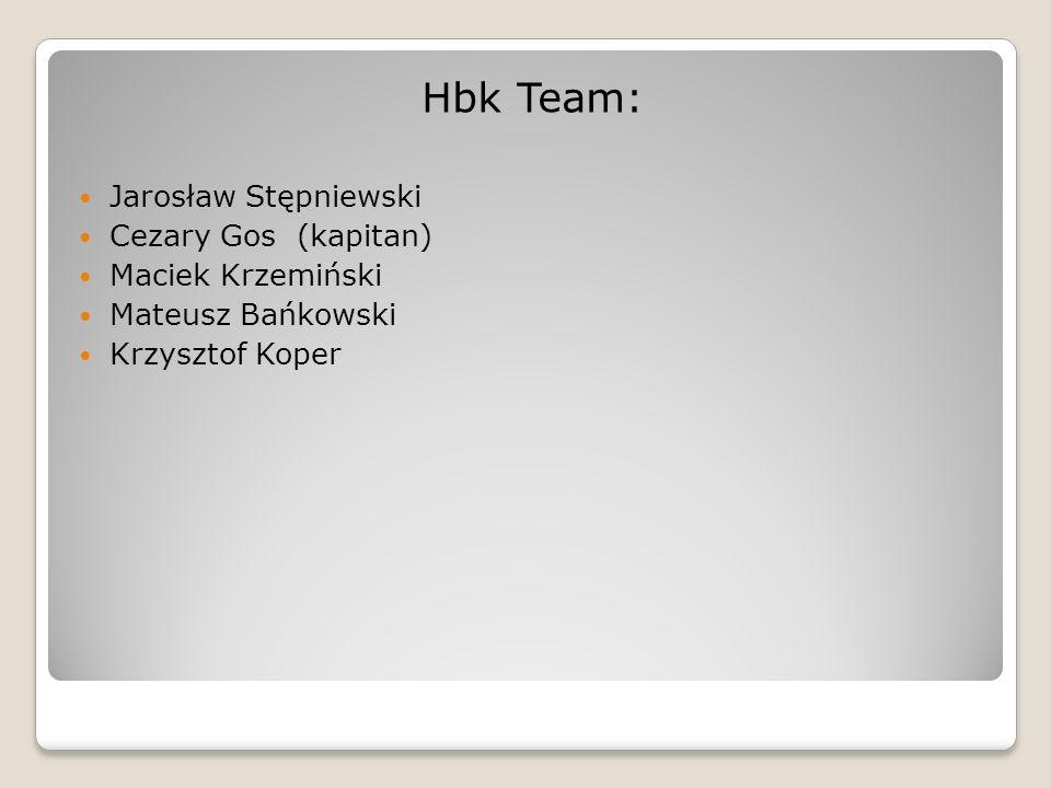 Hbk Team: Jarosław Stępniewski Cezary Gos (kapitan) Maciek Krzemiński Mateusz Bańkowski Krzysztof Koper