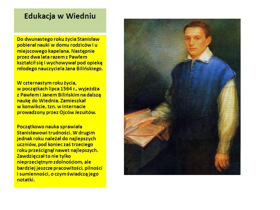 Edukacja w Wiedniu Do dwunastego roku życia Stanisław pobierał nauki w domu rodziców i u miejscowego kapelana. Następnie przez dwa lata razem z Pawłem