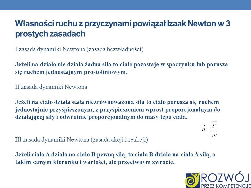 Własności ruchu z przyczynami powiązał Izaak Newton w 3 prostych zasadach I zasada dynamiki Newtona (zasada bezwładności) Jeżeli na działo nie działa