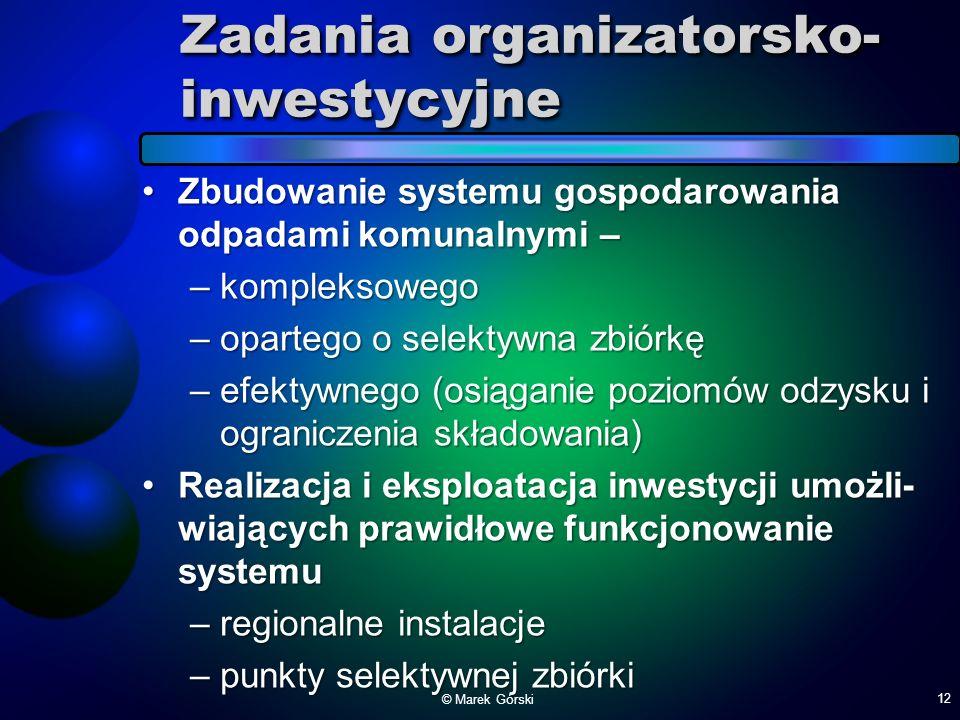 Zadania organizatorsko- inwestycyjne Zbudowanie systemu gospodarowania odpadami komunalnymi –Zbudowanie systemu gospodarowania odpadami komunalnymi –