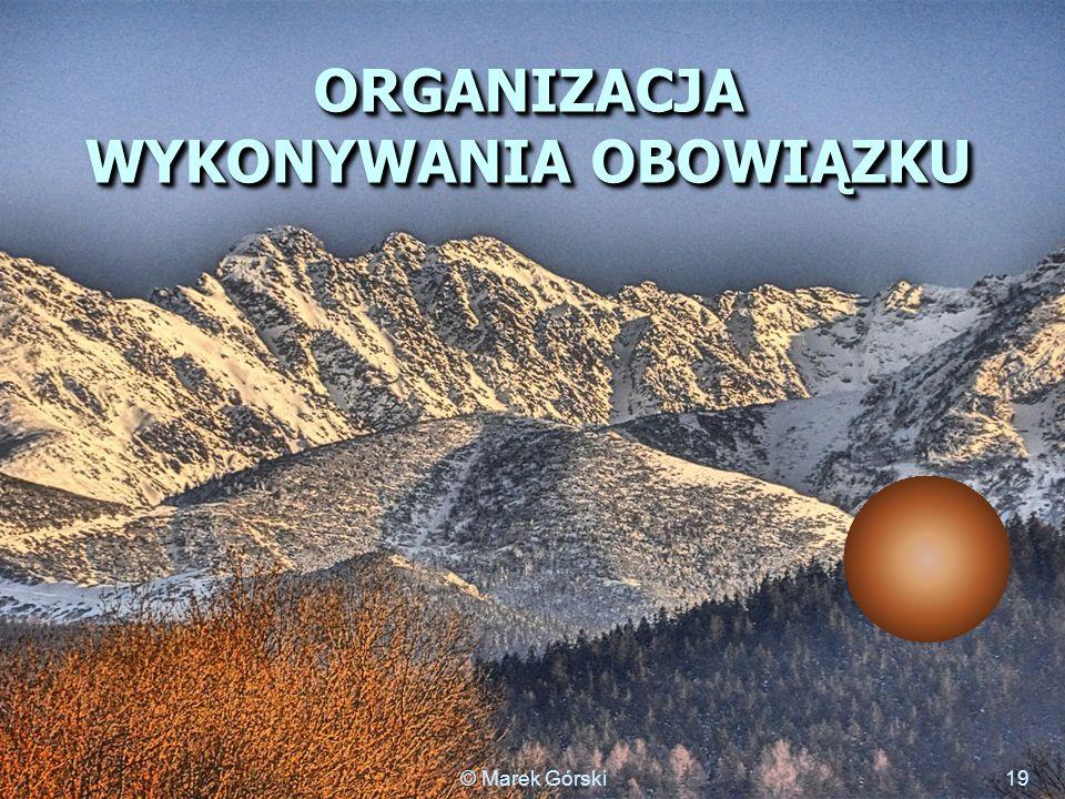 ORGANIZACJA WYKONYWANIA OBOWIĄZKU 19© Marek Górski