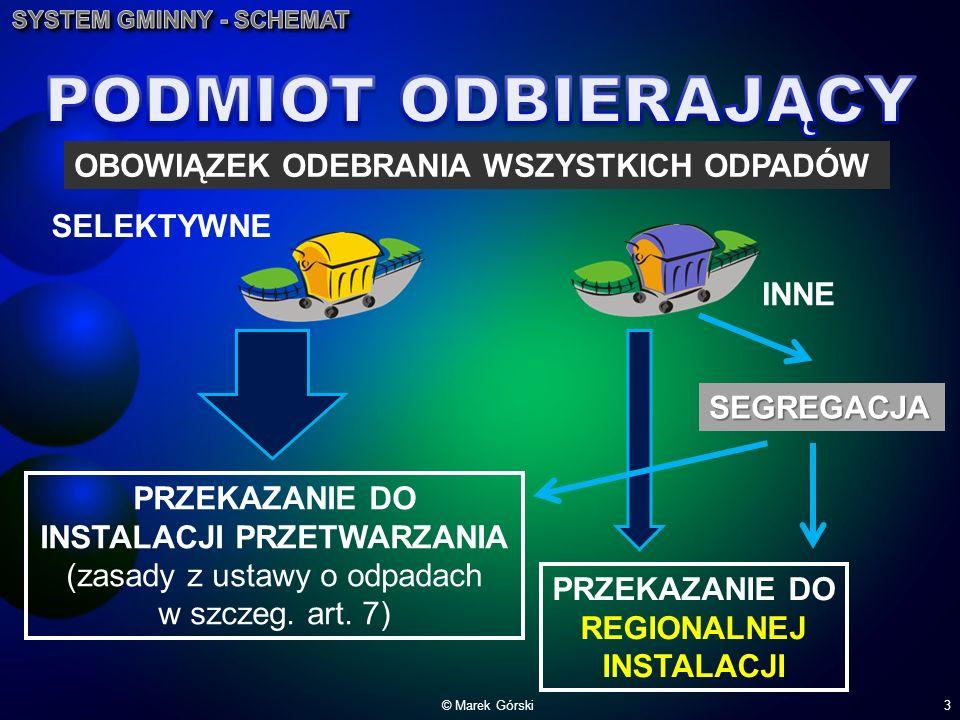 © Marek Górski3 SELEKTYWNE INNE OBOWIĄZEK ODEBRANIA WSZYSTKICH ODPADÓW PRZEKAZANIE DO INSTALACJI PRZETWARZANIA (zasady z ustawy o odpadach w szczeg. a