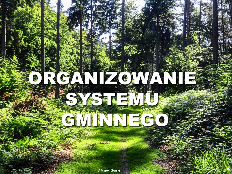 36 ORGANIZOWANIE SYSTEMU GMINNEGO ORGANIZOWANIE SYSTEMU GMINNEGO © Marek Górski
