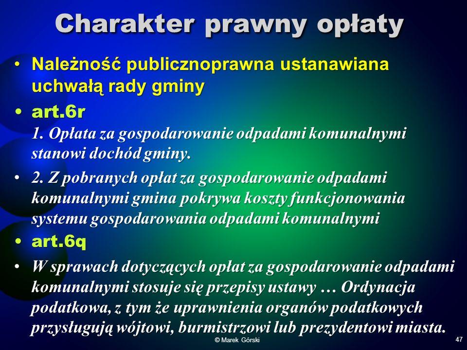 Charakter prawny opłaty Należność publicznoprawna ustanawiana uchwałą rady gminyNależność publicznoprawna ustanawiana uchwałą rady gminy art.6r 1. Opł