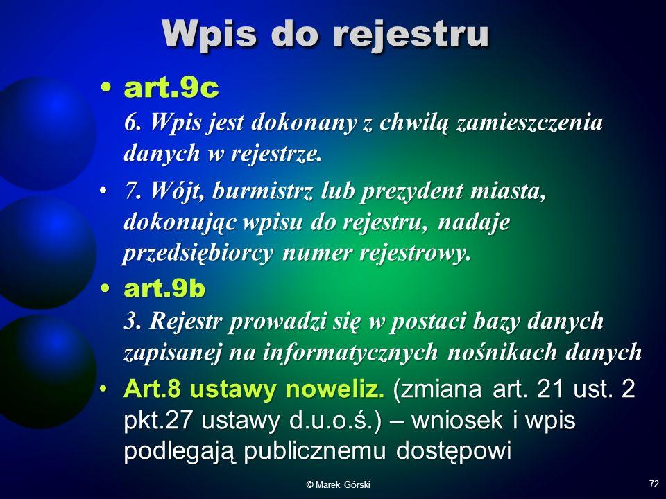 Wpis do rejestru art.9c 6. Wpis jest dokonany z chwilą zamieszczenia danych w rejestrze.art.9c 6. Wpis jest dokonany z chwilą zamieszczenia danych w r