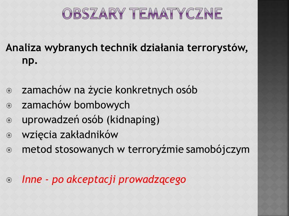 Analiza wybranych technik działania terrorystów, np.